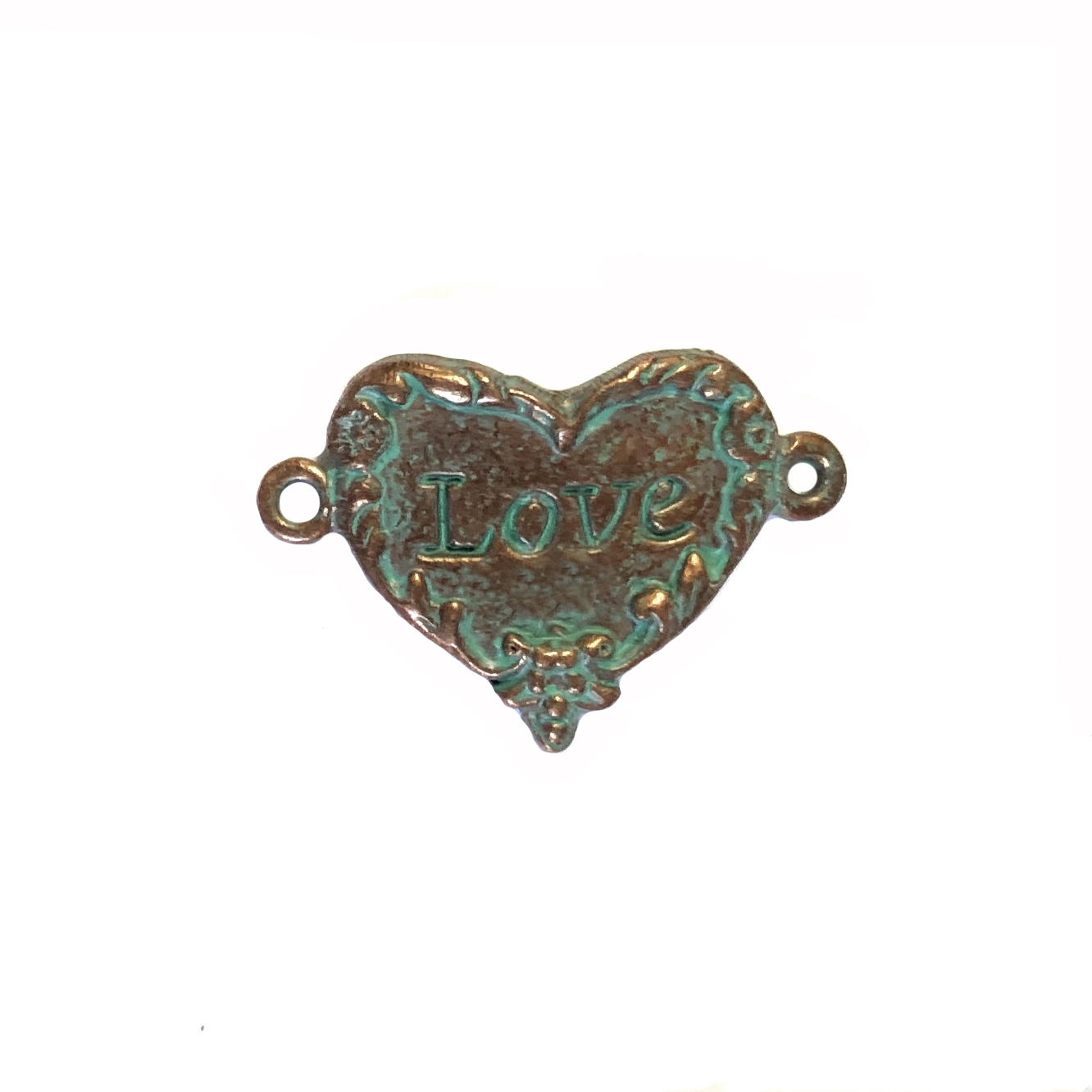 weathered copper pewter, love inscription, love heart, 0363, heart connector, vintage, B'sue by 1928, lead free pewter castings, cast pewter jewelry findings, made in the USA, floral border,  heart charm, 1928 Company, B'sue Boutiques