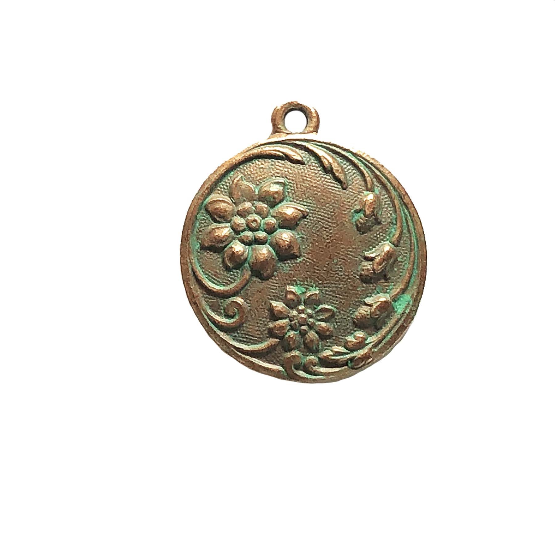 weathered copper pewter, floral pendant, 0653, green patina,  vintage pendant, B'sue by 1928, lead free pewter castings, cast pewter jewelry findings, made in the USA, 1928 Company, B'sue Boutiques