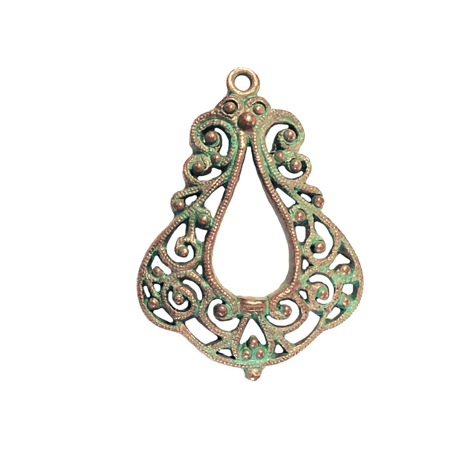 vintage pewter castings, B'sue by 1928, weathered copper, nickel free finish, lead free pewter, vintage castings, green patina, made in the USA,  designer jewelry, vintage jewelry making supplies, filigree pendant, 0654, B'sue Boutiques