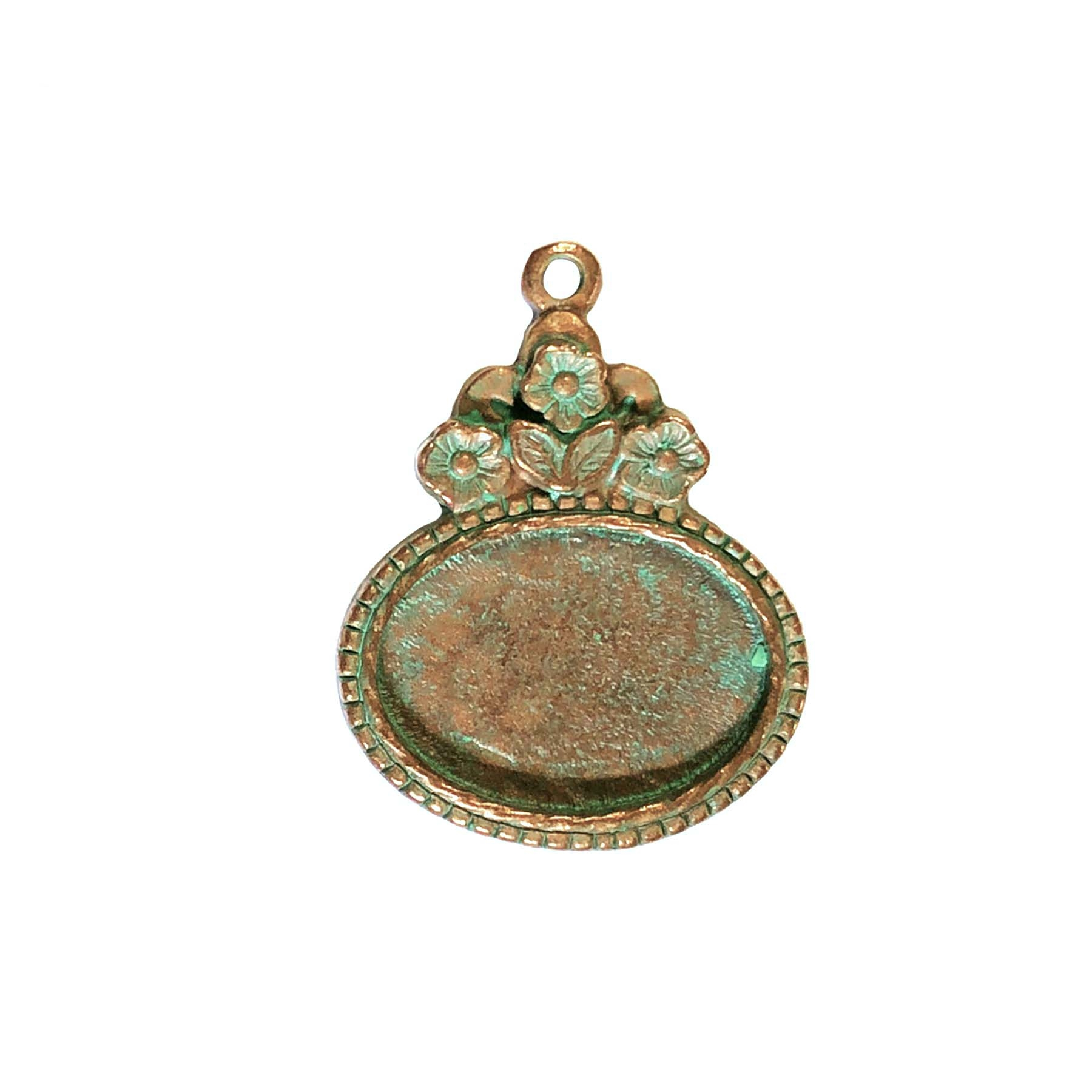 floral pendant mount, B'sue by 1928, floral mount, cameo mount, stone mount, weathered copper pewter, copper base, mount, vintage, nickel free, lead free pewter, vintage castings, US made, vintage supplies, B'sue Boutiques, 18x13mm mount, 0658
