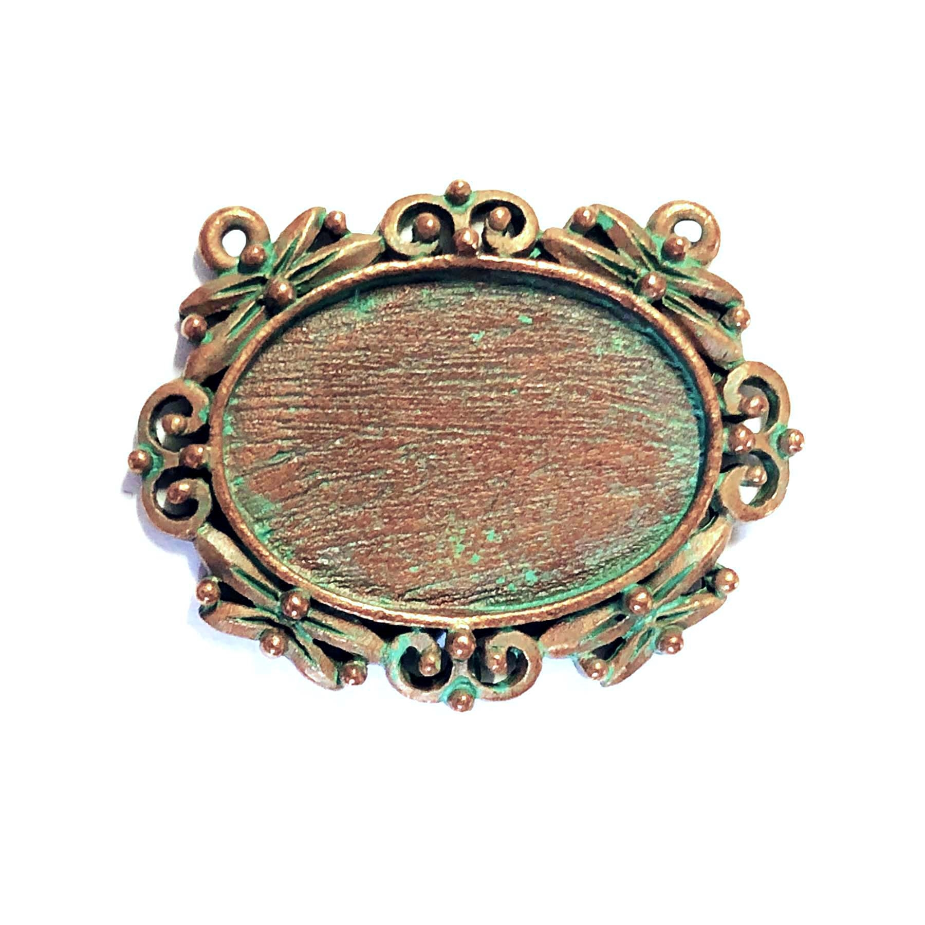 Weathered copper pewter, nickel free, double hole pendant, lead free, 0659, pewter castings, cast pewter jewelry parts, vintage, 1928 Jewelry, B'sue Boutiques, B'sue by 1928, Vintage pendants, vintage charms, vintage jewelry findings, pewter