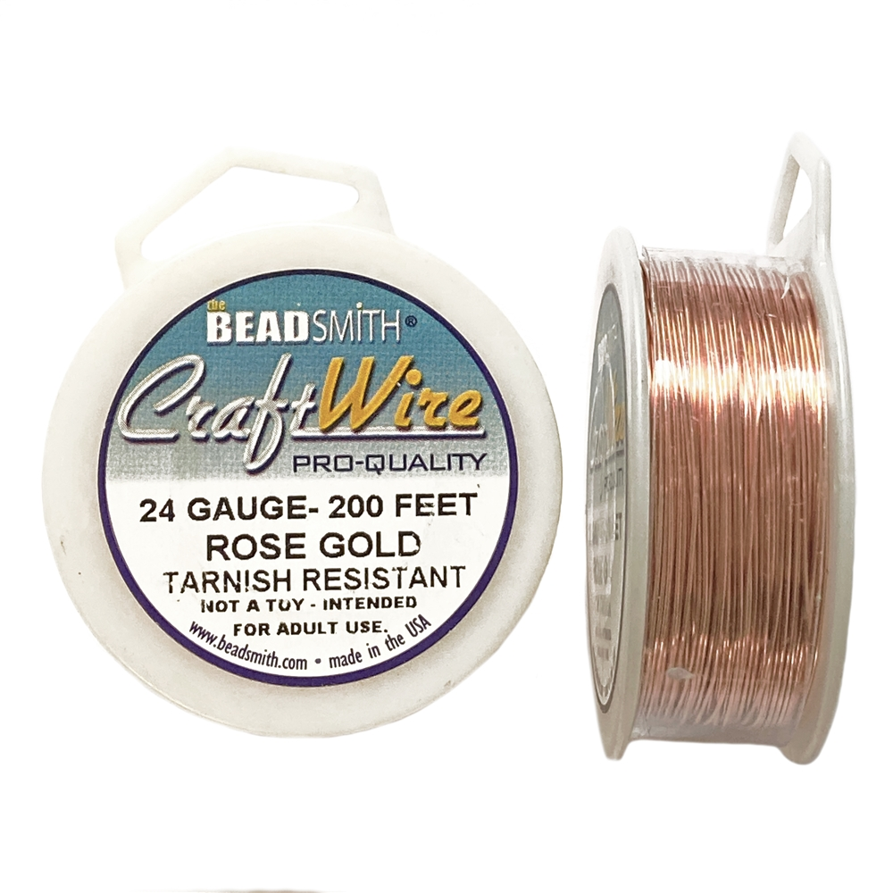 rose gold wire, jewelry wire, bead smith, 24 gauge, rose gold, wire, craft wire, non tarnish, 200 feet, wire jewelry, jewelry making, vintage supplies, jewelry supplies, bead smith rose gold wire, B'sue Boutiques, pro- quality, spool, rose gold wire,02820
