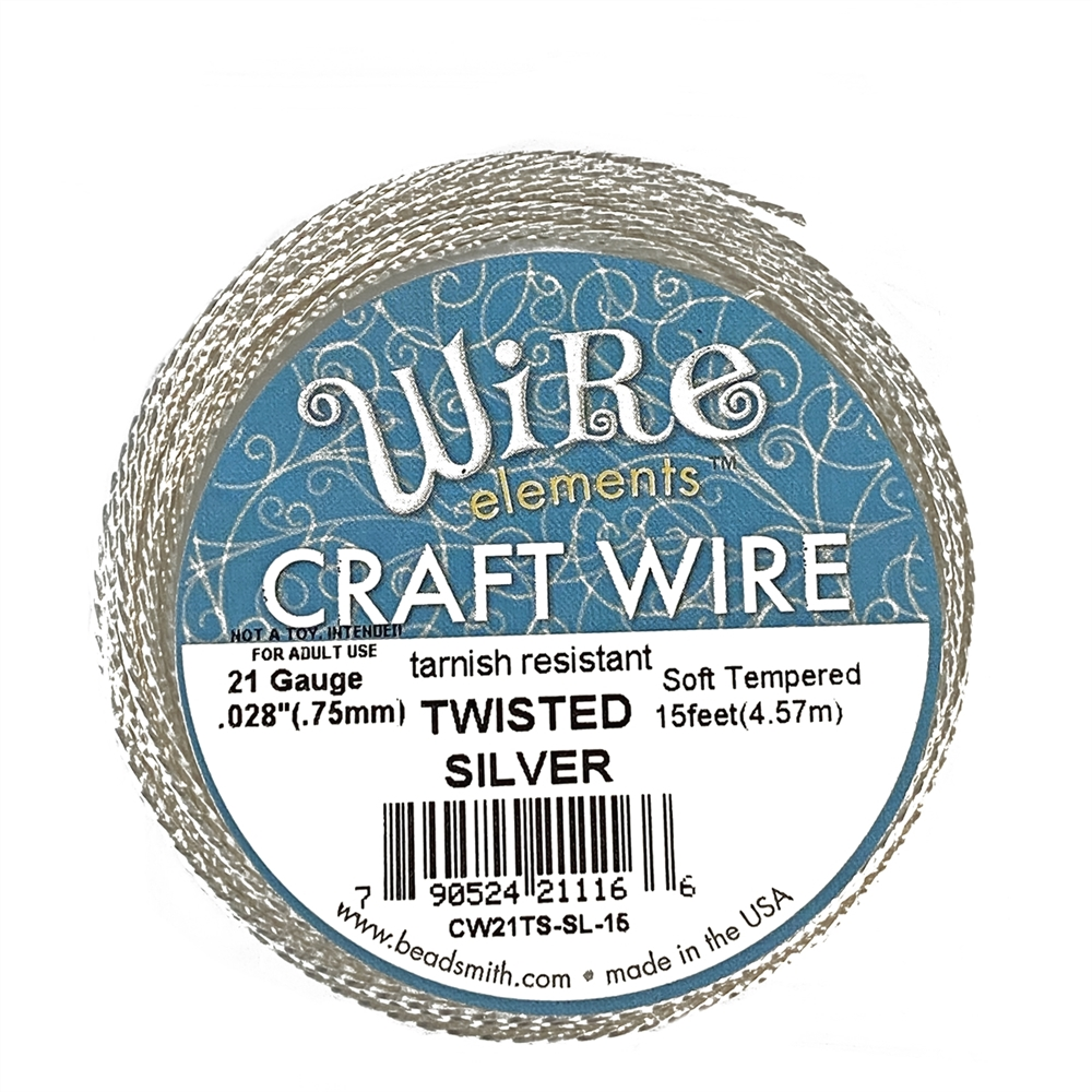 bead smith 21 gauge silver twisted wire, twisted wire, wire, jewelry wire, silver wire, silver twisted wire, craft wire, twisted, 15 feet, 21 gauge wire, tarnish resistant, jewelry making, vintage supplies, jewelry supplies, soft tempered, 02839