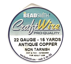 antique copper wire, jewelry wire, bead smith, 22 gauge, antique copper, wire, craft wire, non tarnish, 15 yards, wire jewelry, jewelry making, vintage supplies, jewelry supplies, bead smith antique copper wire, B'sue Boutiques, pro- quality, spool, 03972