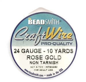 rose gold wire, jewelry wire, bead smith, 24 gauge, rose gold plate, rose gold, wire, craft wire, non tarnish, 10 yards, wire jewelry, jewelry making, vintage supplies, jewelry supplies, bead smith rose gold wire, B'sue Boutiques, pro- quality,spool,03974