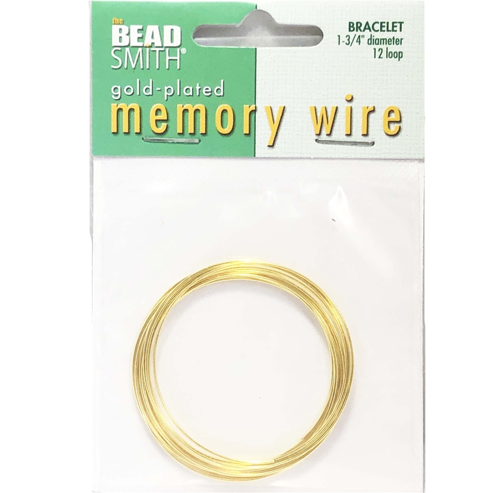 Round Memory Wire, Gold Plate, 043, 1.75 inch, bracelet wire, jewelry wire, craft wire, jewelry making supplies, stainless steel memory wire, 12 loop wire, round wire