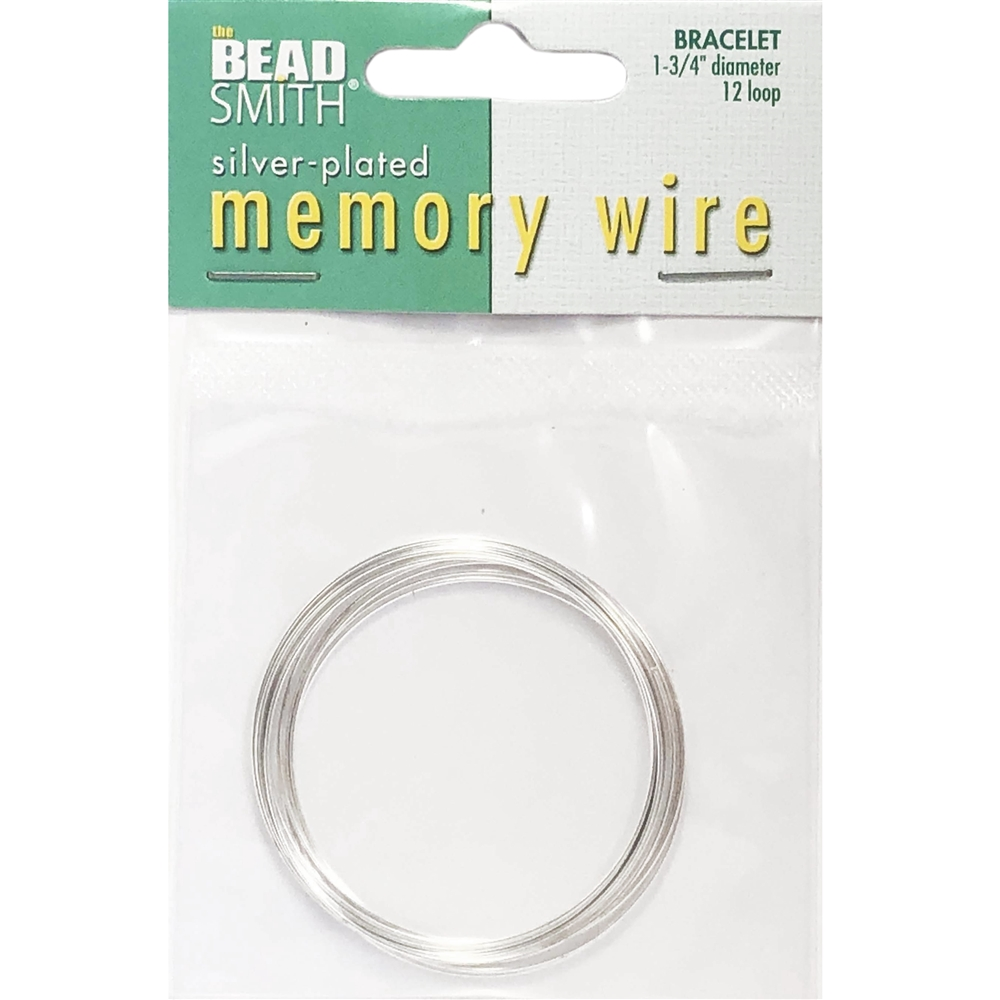 Round Memory Wire, Silver Plate, 044, 1.75 inch, bracelet wire, jewelry wire, craft wire, jewelry making supplies, stainless steel memory wire, 12 loop wire, round wire