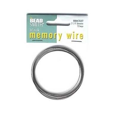 Black Round Memory Wire for Bracelet Making, 2.25 Inch