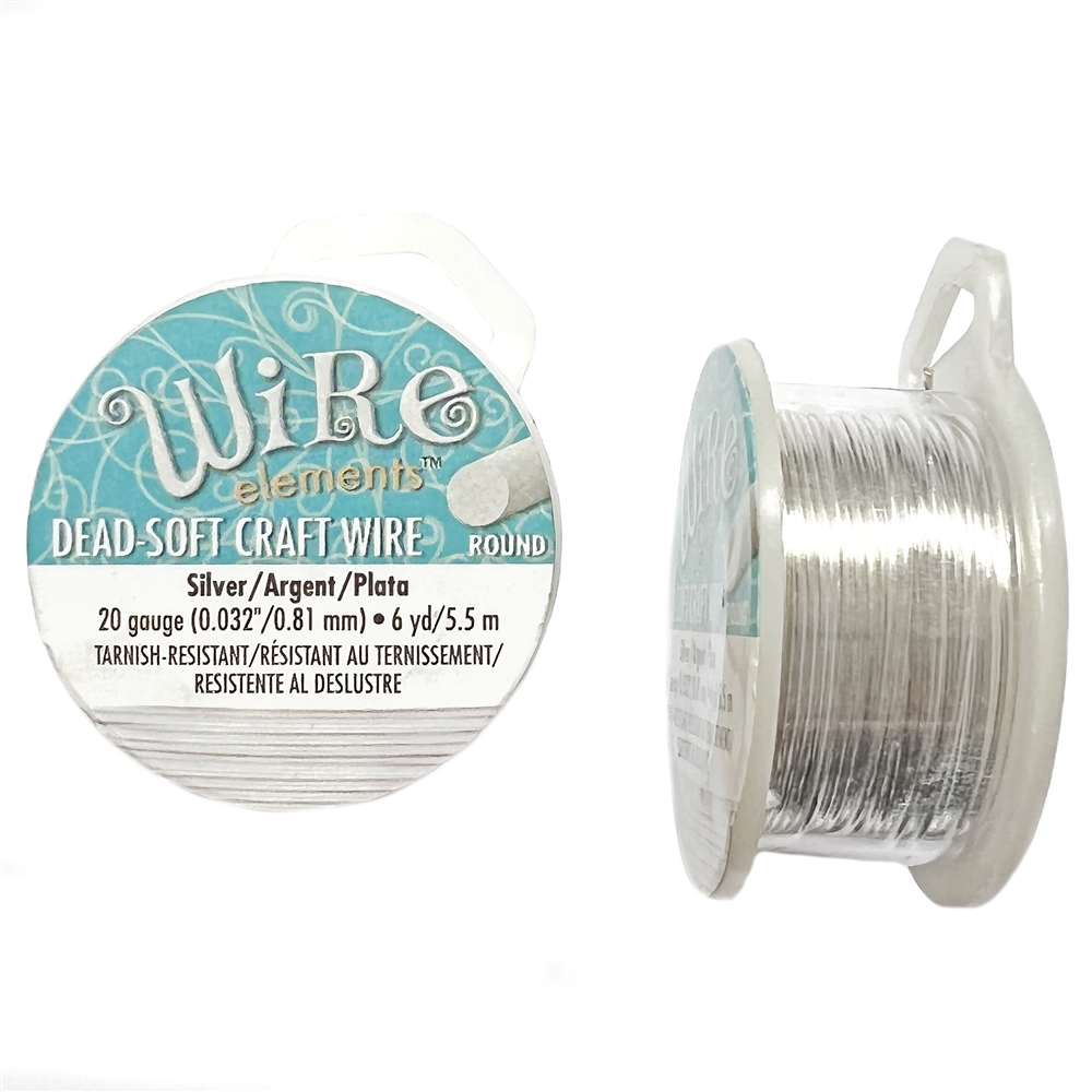 silverplate wire, 20 gauge, craft wire, wire, silver, silverplate, 6 yards, non-tarnish, us made, nickel free, b'sue boutiques, jewelry findings, vintage supplies, jewelry supplies, silver wire, lead free, beadsmith, 05390