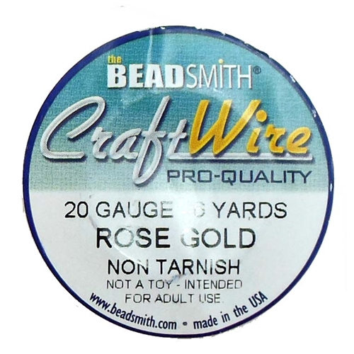 rose gold wire, jewelry wire, bead smith, 20 gauge, rose gold, wire, craft wire, non tarnish, 6 yards, wire jewelry, jewelry making, vintage supplies, jewelry supplies, bead smith rose gold wire, B'sue Boutiques, pro- quality, spool, 05393