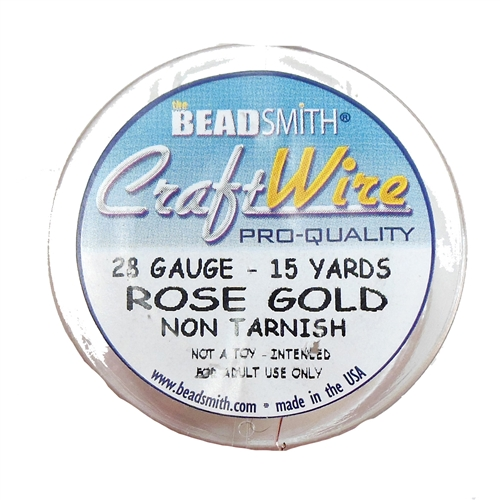Bead Smith 28 Gauge Rose Gold Craft Wire