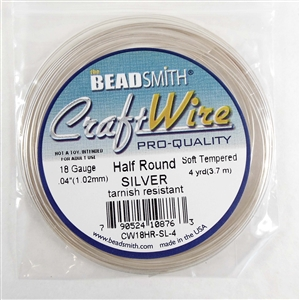 craft wire, 18 gauge, half round, silver