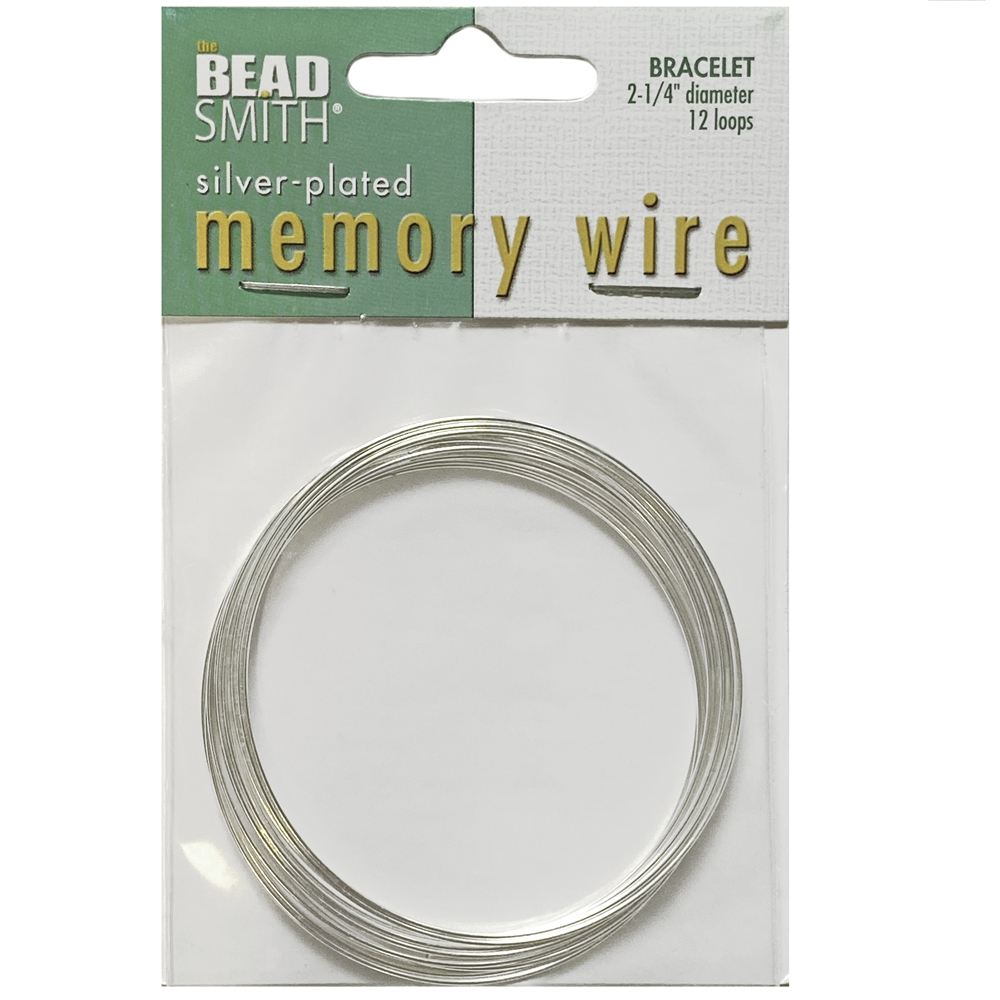 Round Memory Wire, Silver Plate, 07325, 2.25 inch, bracelet wire, jewelry wire, craft wire, jewelry making supplies, stainless steel memory wire, 12 loop wire, round wire