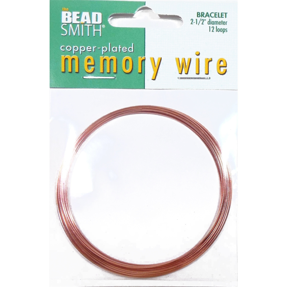 Memory Wire, Bracelet Making, Round, Copper Plated, 2 1/2 Inch Diameter, 12 Loops