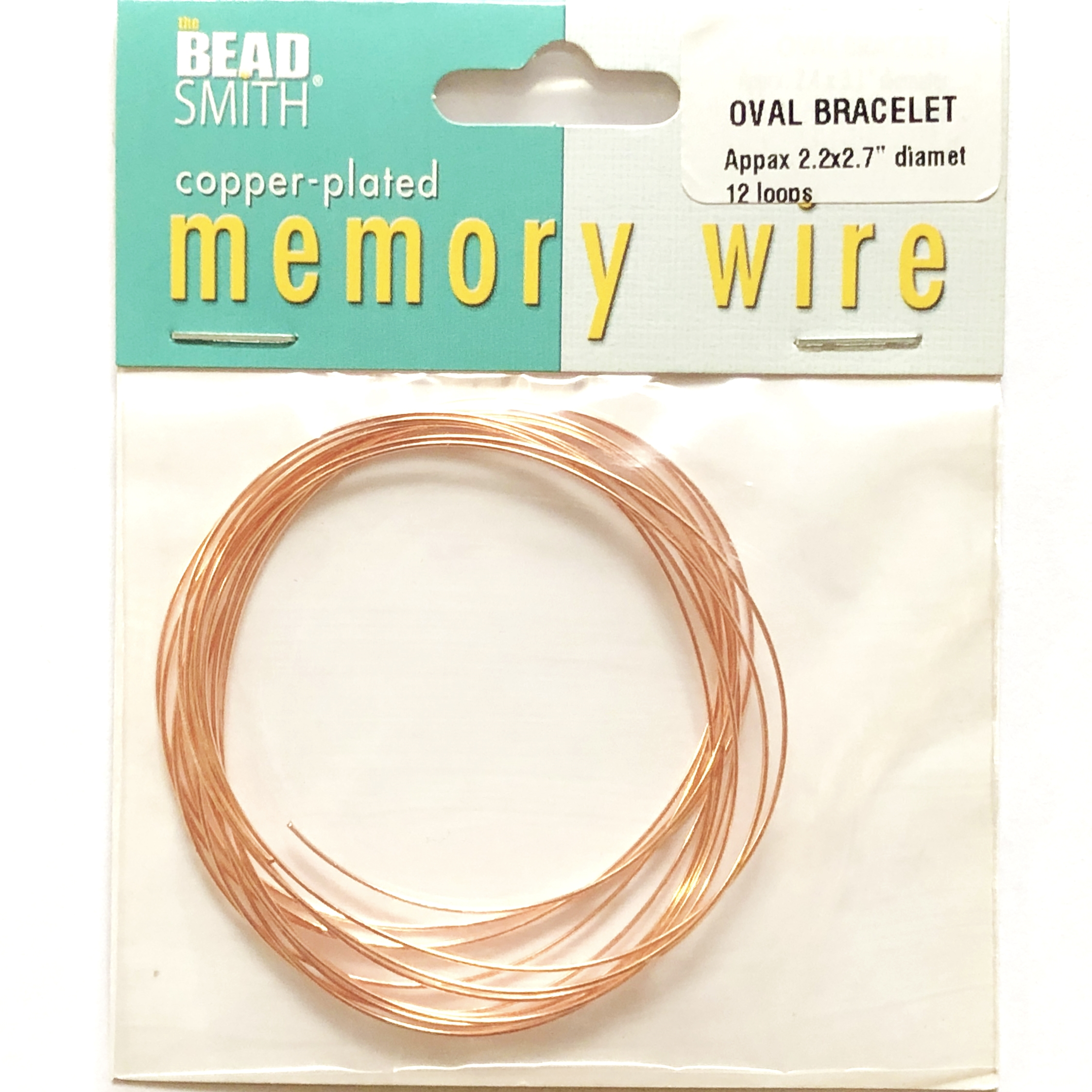 Oval Memory Wire, Copper Plate, 09799, bracelet wire, jewelry wire, craft wire, jewelry making supplies, stainless steel memory wire, 12 loop wire, oval wire
