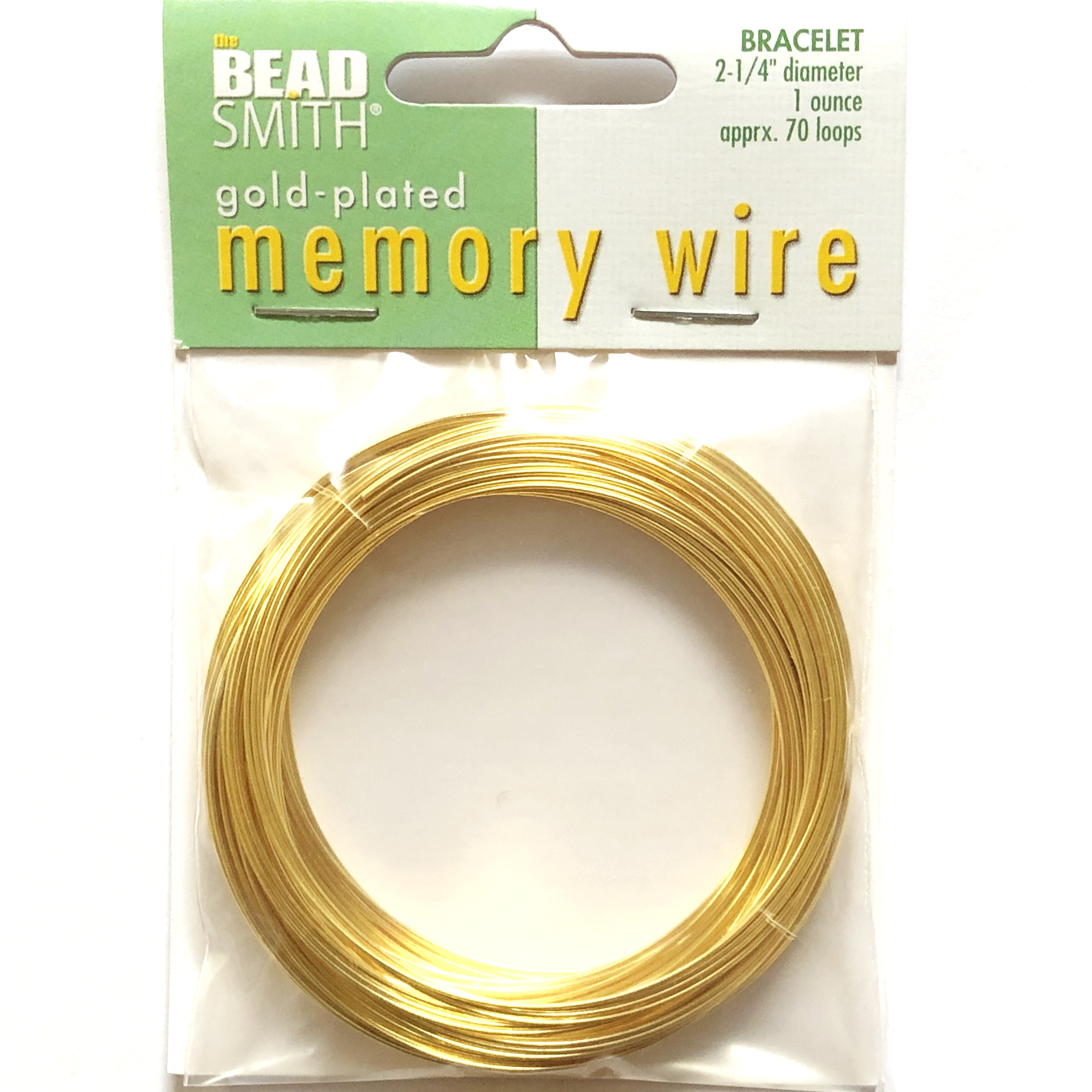 Round Memory Wire, Gold Plate, 09800, 2.25 inch, bracelet wire, jewelry wire, craft wire, jewelry making supplies, stainless steel memory wire, 70 loop wire, round wire