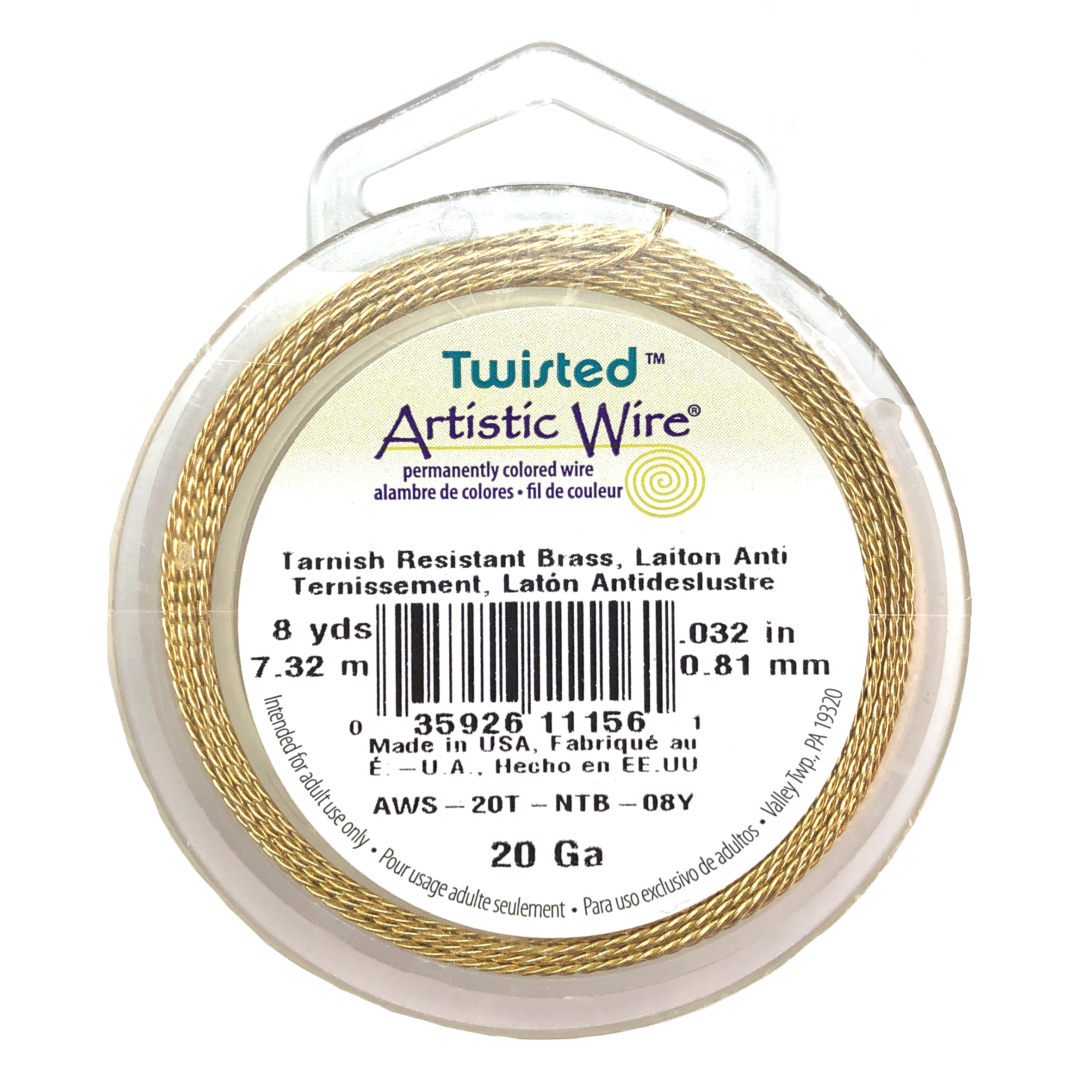 craft wire, 20 gauge, non tarnish brass, 09844, tarnish resistant brass wire, wire, crafting supplies, jewelry supplies, 8 yards, twisted wire, twisted rope design, B'sue Boutiques, jewelry making