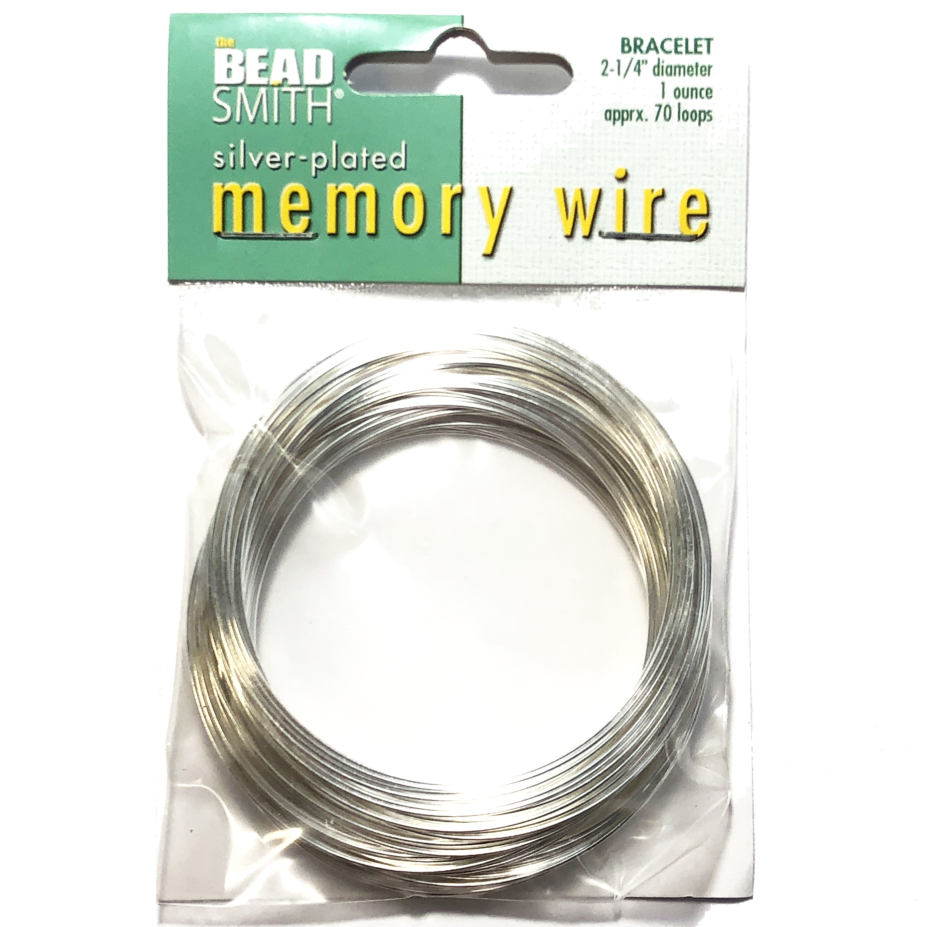 Round Memory Wire, Silver Plate, 09999, 2.25 inch, bracelet wire, jewelry wire, craft wire, jewelry making supplies, stainless steel memory wire, 70 loop wire, round wire