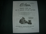 ATLAS 10F LATHE PARTS MANUAL