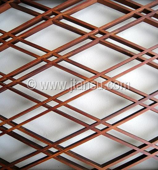 Japanese Wood Ranma, Transom - Geometric Design
