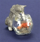 Grey Kitten and fish bowl