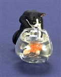 Kitten and fish bowl