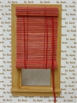 Red Bamboo Roll Up Shade for Miniature Window