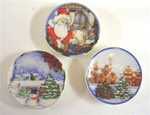 Three Christmas Plates 1 inch Miniature Scale