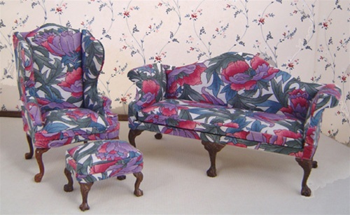 Marvelous Floral Wing Sofa Set Bespaq Miniatures In Miniature Gmtry Best Dining Table And Chair Ideas Images Gmtryco