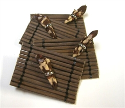 Brown Bamboo Place Mat -Napkins set in Miniature