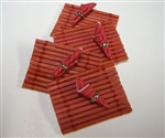Red Bamboo Place Mat -Napkins set in Miniature