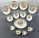 Floral Ceramic Dinner 13 piece Set 1 inch miniature scale