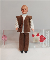 0105 Man in brown vest Caco Miniature Doll