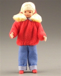 Girl in red Caco Miniature Doll