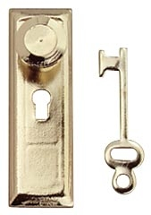 Brass Knob keyplate & Key 1 inch scale by Houseworks