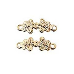 Brass Double Flower Drawer Pull 1 inch scale miniatures