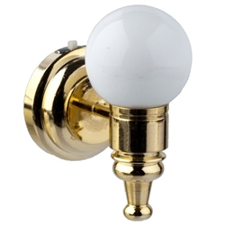 Wall Sconce- Brass with round white globe