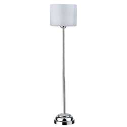 Modern Floor Lamp-Chrome with drum shade-Battery Powered