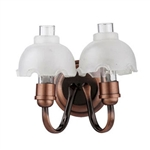 Wall Sconce- Copper Double fluted shades-Battery Powered