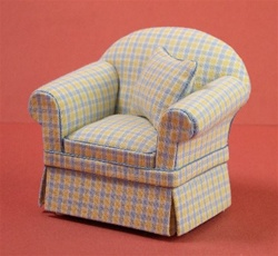Ashley Yellow/Blue Check Chair
