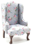Traditional Wing Back Chair Gray/Floral