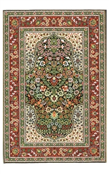 201-Red -Green Geometric Turkish Woven Rug for Miniatures