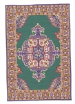 214- Teal- Navy Geometric Turkish Woven Rug for Miniatures