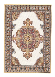 218-, Brown, Blue Geometric Turkish Woven Rug for Miniatures