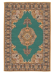 222- Teal- Browns Geometric Turkish Woven Rug for Miniatures