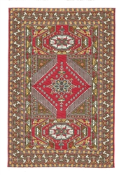 232- Red- Gold Geometric Turkish Woven Rug for Miniatures