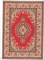 305 -Red--Tan Geometric Turkish Woven Rug for Miniatures