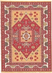 309 -Red--Gold Geometric Turkish Woven Rug for Miniatures