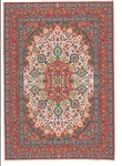 312 -Red-Teal- Geometric Turkish Woven Rug for Miniatures