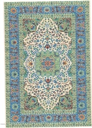 313 -Teal--Blue  Geometric Turkish Woven Rug for Miniatures